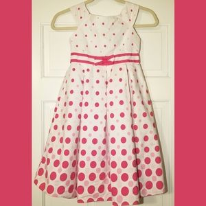 Pink & White Polka Dot Girl's Size 7 Dress